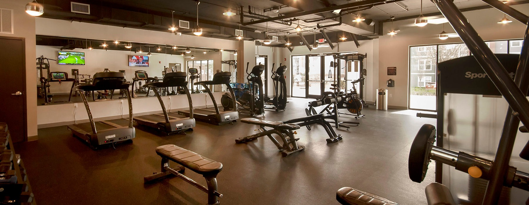 bright and spacious fitness center